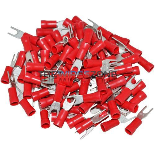 The Install Bay RVST6 Vinyl Red 22/18 Gauge #6 Spade Terminal (100/pk)