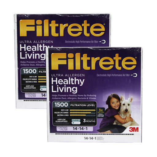 Filtrete 14x14x1 MPR 1500 Ultra Allergen, Virus and Bacteria Reduction HVAC Furnace Air Filter (2-12 Pack)