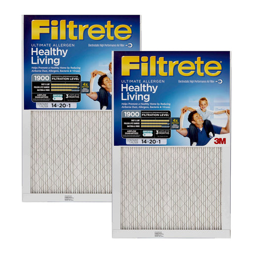Filtrete 14x20x1 MPR 1900 Ultimate Allergen, Virus and Bacteria Reduction HVAC Furnace Air Filter (2-6 Pack)