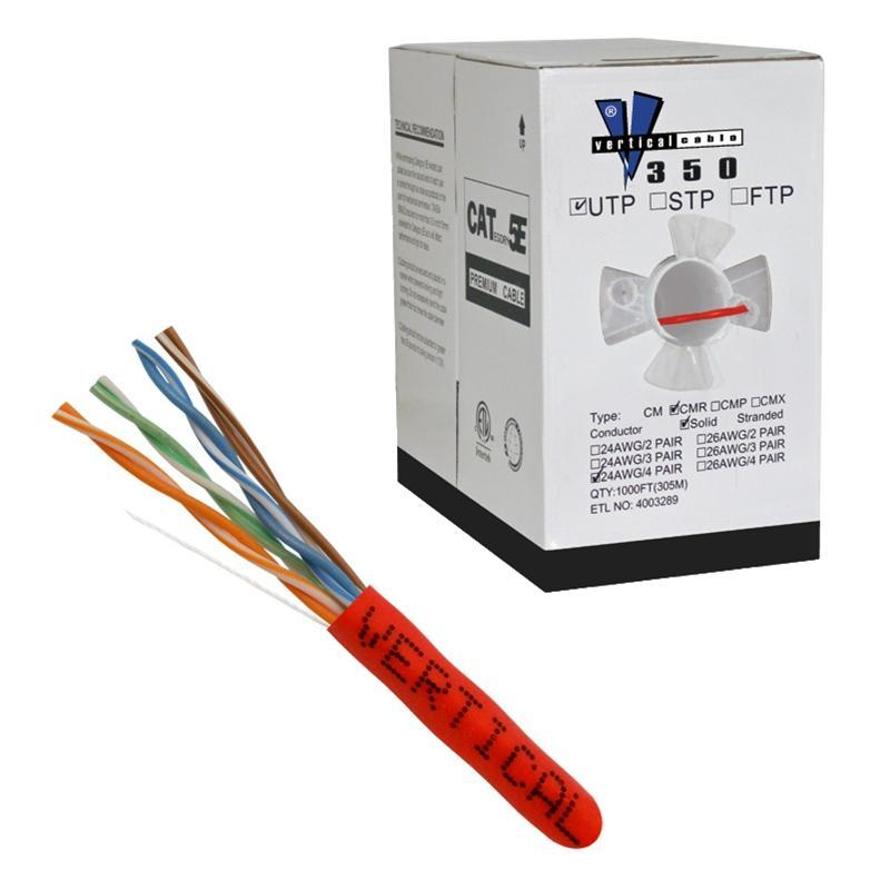 CAT5E 24 AWG UTP 8 Conductor Solid Bare Copper Red 1000 Feet Cable (3838917083200)