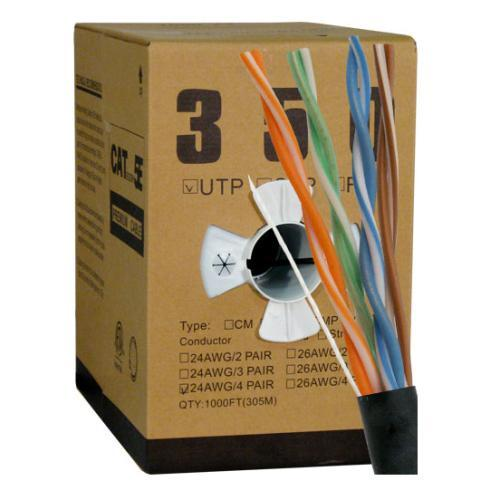 CAT5E UTP 1000 Feet 24 AWG Solid Bare Copper Plenum Jacket Black Cable (3838917410880)