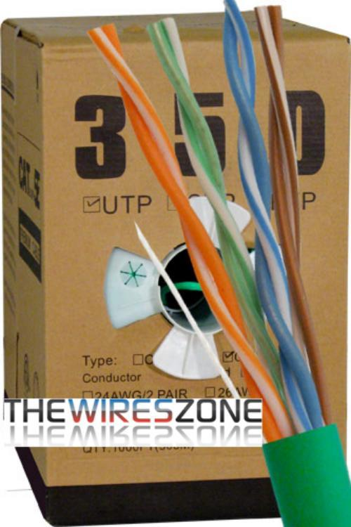 CAT5E UTP 1000 Feet 24 AWG Solid Bare Copper Plenum Jacket Green (3838917673024)