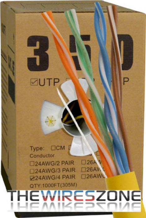 CAT5E UTP 1000 Feet 24 AWG Solid Bare Copper Plenum Jacket Yellow (3838918000704)