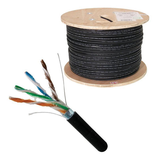 Direct Burial CAT5E Outdoor 24AWG Solid Bare Copper Black 1000ft Cable (3838920785984)
