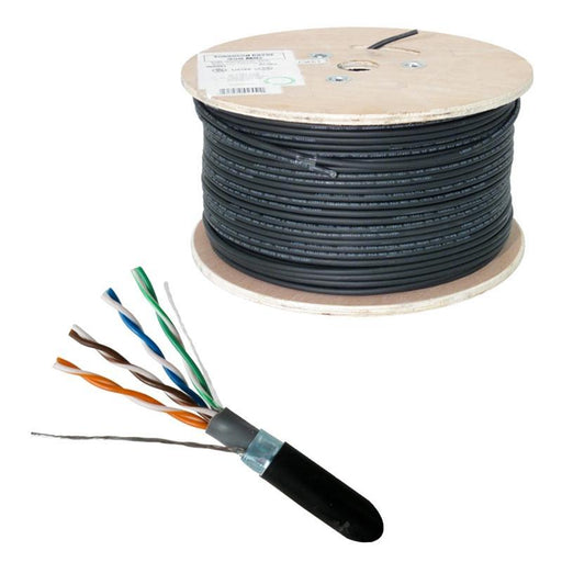 Direct Burial CAT5E Outdoor 24AWG Solid Bare Copper Black 1000ft Cable