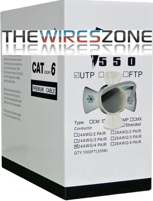 CAT6 23AWG UTP 8C Solid Bare Copper 550MHz PVC Jacket 1000 Feet Gray (3838921146432)