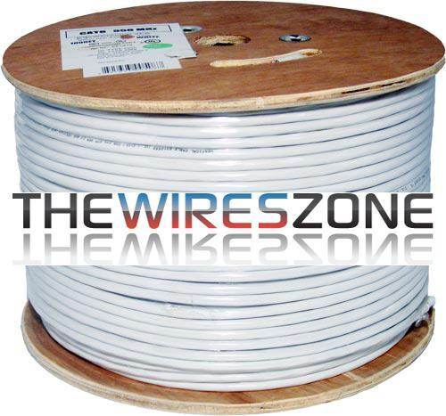 CAT6 23 AWG STP 8C Solid Bare Copper 550MHz PVC Jacket White 1000 Feet (3838922555456)