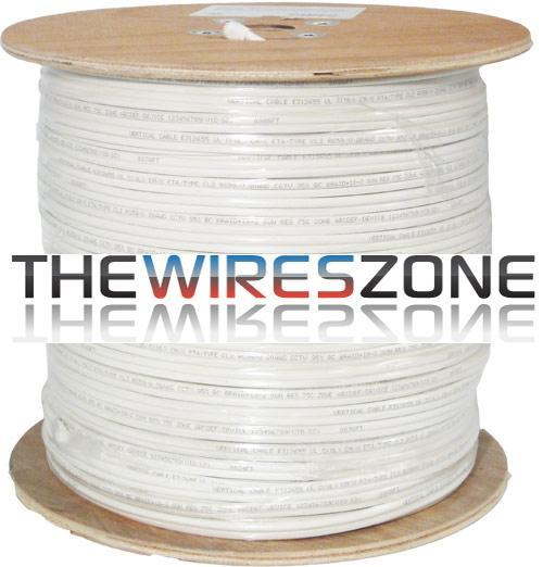 CCTV RG59 Siamese 20AWG CCS Coaxial Cable +18/2 Power Cable 500' White (3838924980288)