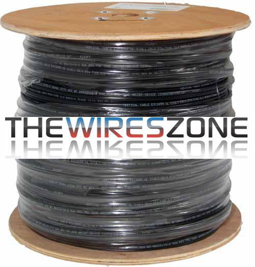 RG59 Siamese 20 AWG CCS Coaxial Cable + 18/2 Power Cable 1000' Black (3838925242432)