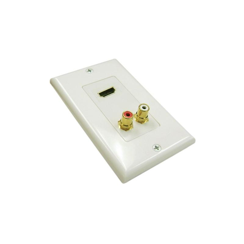 Vertical Cable 245-WP/H2R Gold HDMI + 2 x RCA Decora White Wall Plate