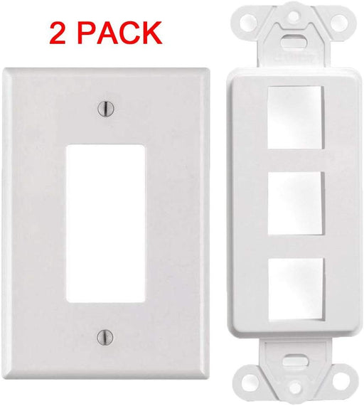 White 3-Port Decora Keystone Jack Wall Insert Cover Plate (1-5 Pack)