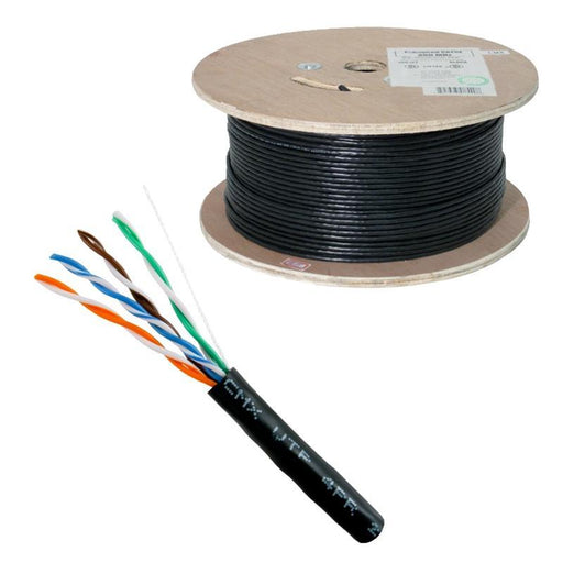 CAT5E CMX Outdoor 24 AWG 8C Solid Bare Copper Black 1000 Feet Cable