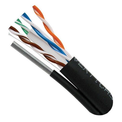 CAT5E Outdoor with Messenger 24AWG Solid Bare Copper Black 1000' Cable