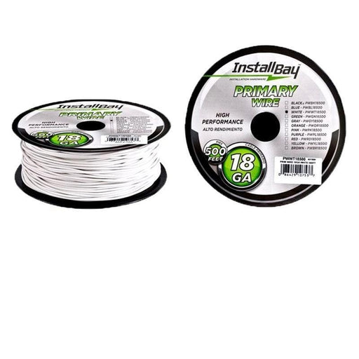 The Install Bay PWWT18500 White 18 Gauge 500 Feet Coil Primary Wire (3839076073536)