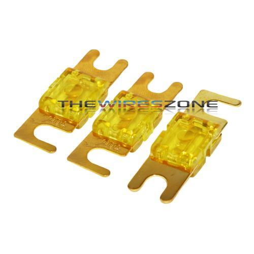 Yellow Gold Plated 100 Amp Mini ANL Fuse (3/pack)