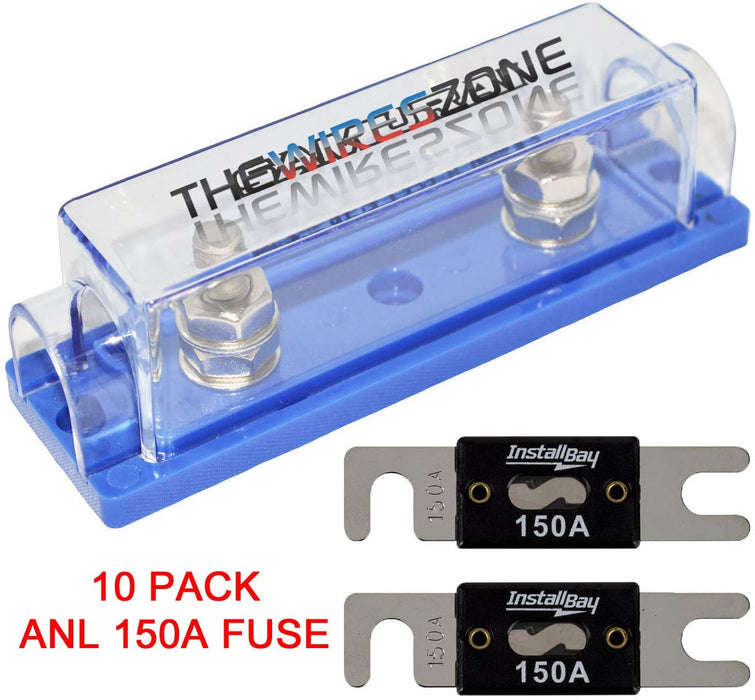 High Quality 1/0/4/8 Gauge ANL Fuse Holder + 2/4/10 Pack Nickel 100-500 Amp Fuse