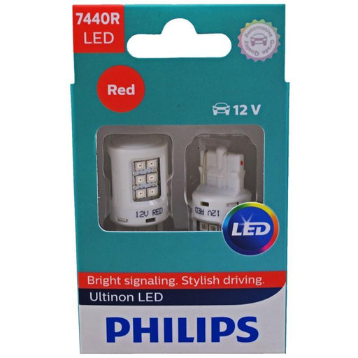 Philips 7440 LED Vision 2 Watts 12V Red Stop/Brake Light Bulb (pair) (3839156060224)