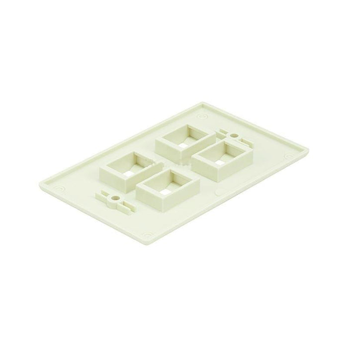 White 4 Port Hole Keystone Jack Flat Wall Plate (5-20 Pack) (3839191875648)