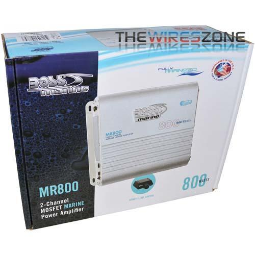 Boss MR800 2-Channel AB Class 800 Watt High Power Marine Amplifier (3839205933120)