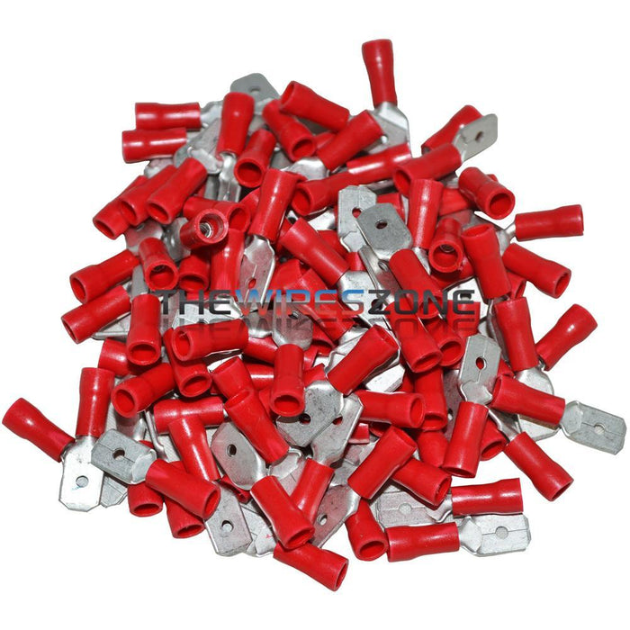Install Bay RVMD250 Red 22-18 Gauge .250 Male Quick Disconnect 100/pk (3839227166784)