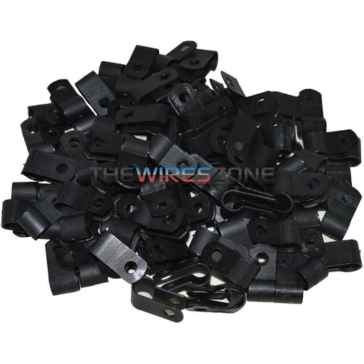 "The Install Bay BCC12 Black 1/2"" Cable Clamps (100/pack) (3839229526080)"