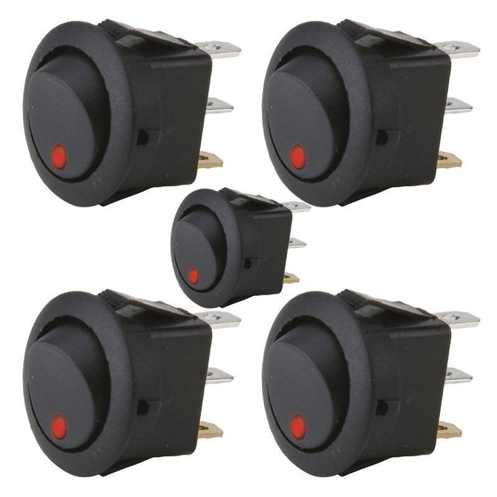 The Install Bay IBRRSR 20 Amp Round Rocker Switch with Red LED (5/pk) (3839238275136)