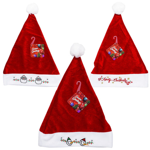 "14"" Santa, Snowman and Merry Embroid Christmas Hat- 3 Assortments"