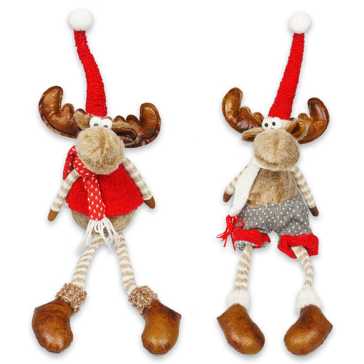 "23.2"" Holiday Christmas Moose Home Decorations Red and Gray Color"