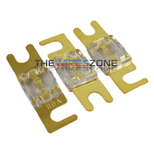 High Quality Gold Plated Inline 80 Amp Mini ANL Fuse (3/pack)