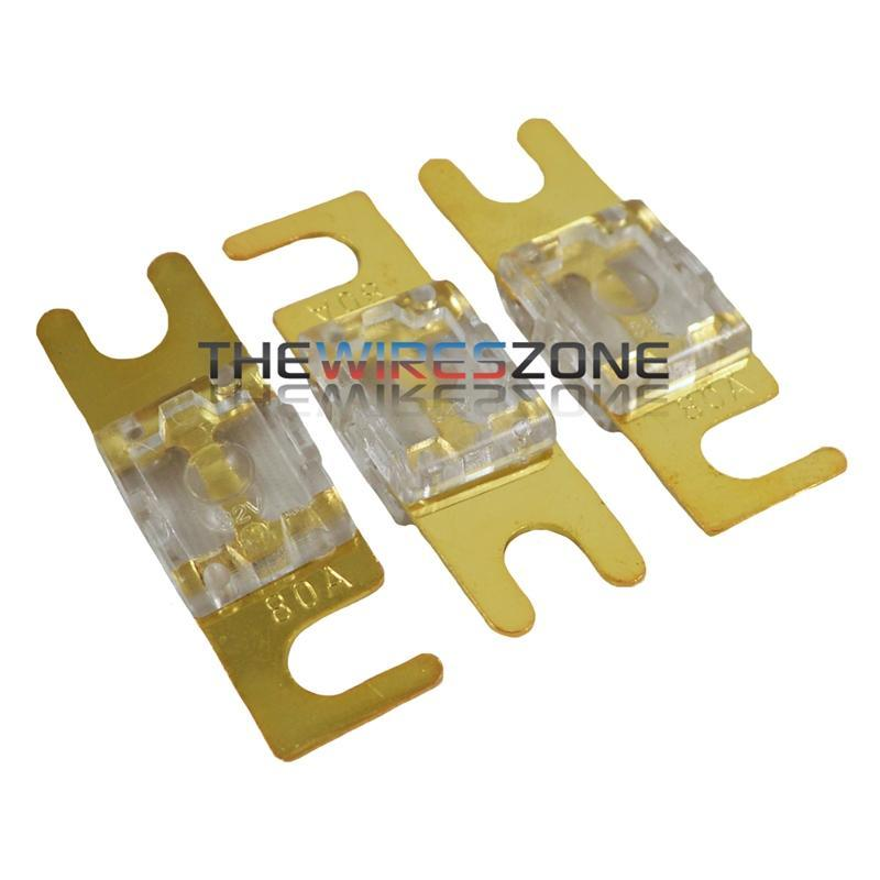 High Quality Gold Plated Inline 80 Amp Mini ANL Fuse (3/pack) (3839321178176)