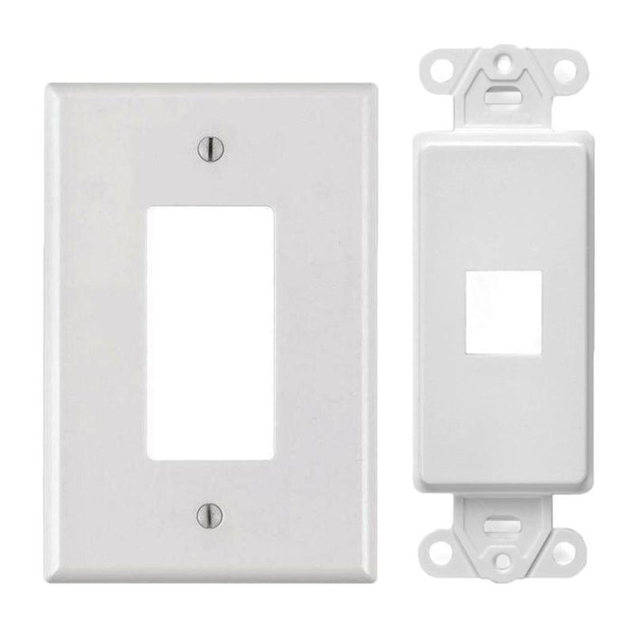 White 1-Port Decora Keystone Jack Wall Insert Cover Plate (1/pack)
