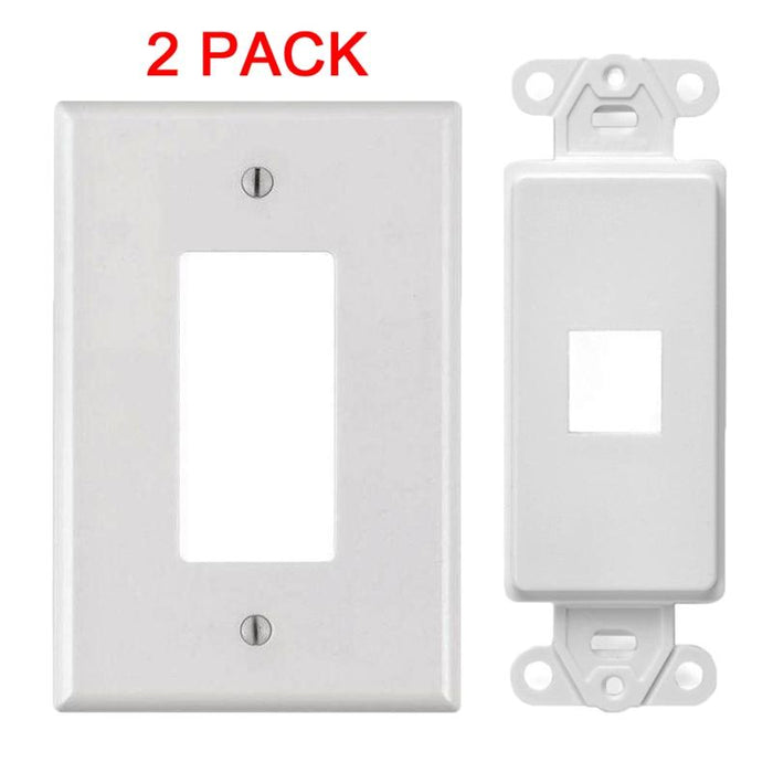 White 1-Port Decora Keystone Jack Wall Insert Cover Plate (1-5 Pack)