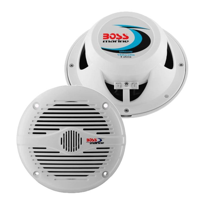 "Boss Audio MR50W 5.25"" 2-Way 150 Watts White Marine Speaker (pair) (3839476170816)"
