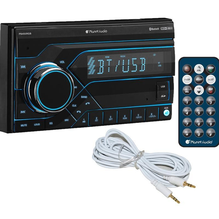 Planet Audio PB455RGB Digital Media Bluetooth Car Stereo + Free AUX (3839569690688)