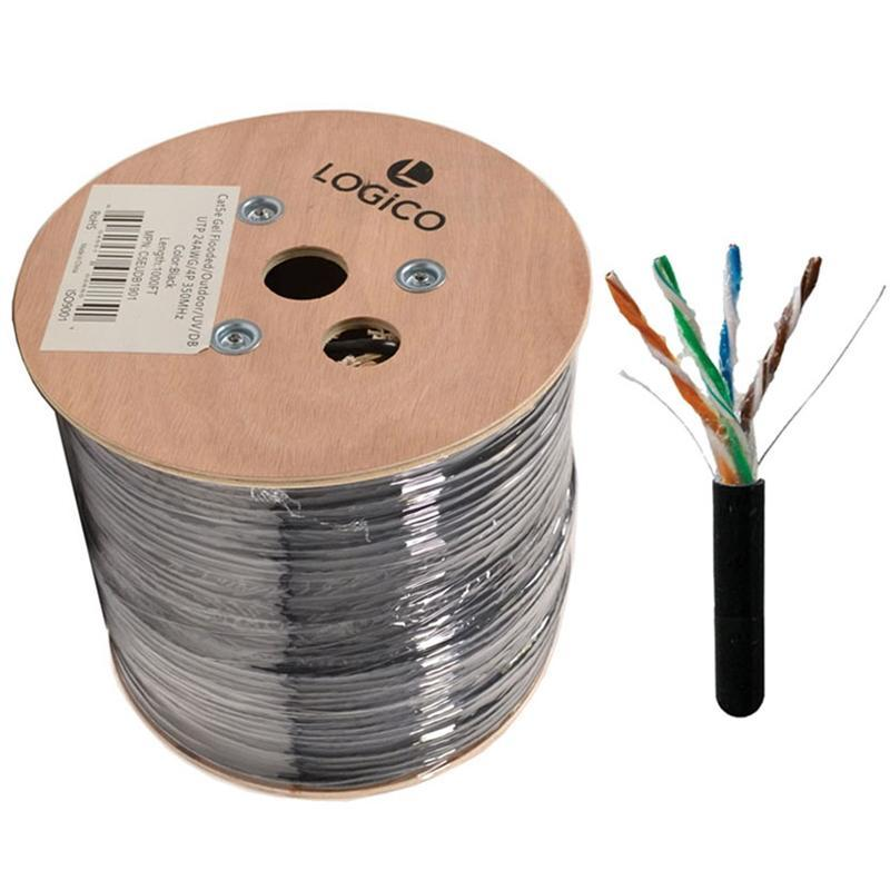 LOGICO Cat5e UTP Outdoor Ethernet Network Cable Direct Burial 350MHZ 24AWG 1000 FT Black