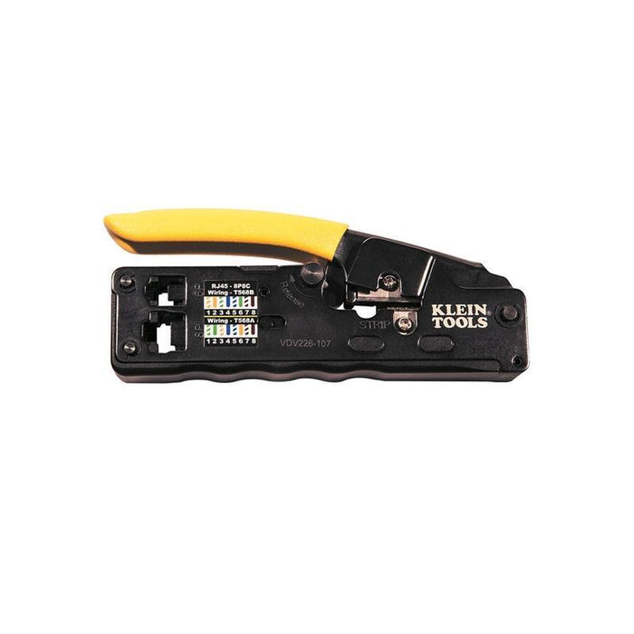 Klein Tools VDV226-107 Compact Ratcheting Modular Crimper, Cut, Strip (3839694110784)