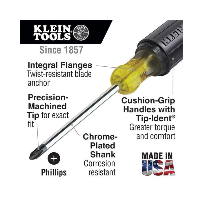 Klein Tools 603-4 #2 Phillips Head Screwdriver with 4 inch Round Shank (3839707742272)