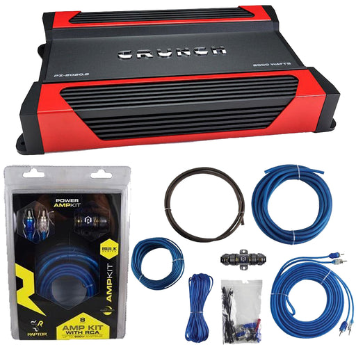 Crunch PZ-2020.2 Monoblock Car Amplifier with Raptor R2AK8 8 Gauge Complete Amp Kit Combo