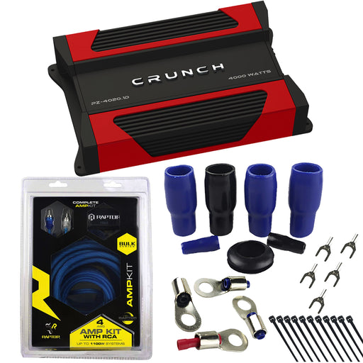 Crunch PZ-4020.1D Monoblock Car Amplifier with Raptor R2AK4 4 Gauge Complete Amp Kit Combo