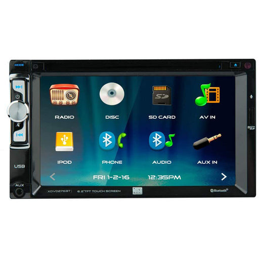 "Dual XDVD276BT 6.2"" Double DIN Multimedia DVD Receiver Touchscreen Bluetooth"