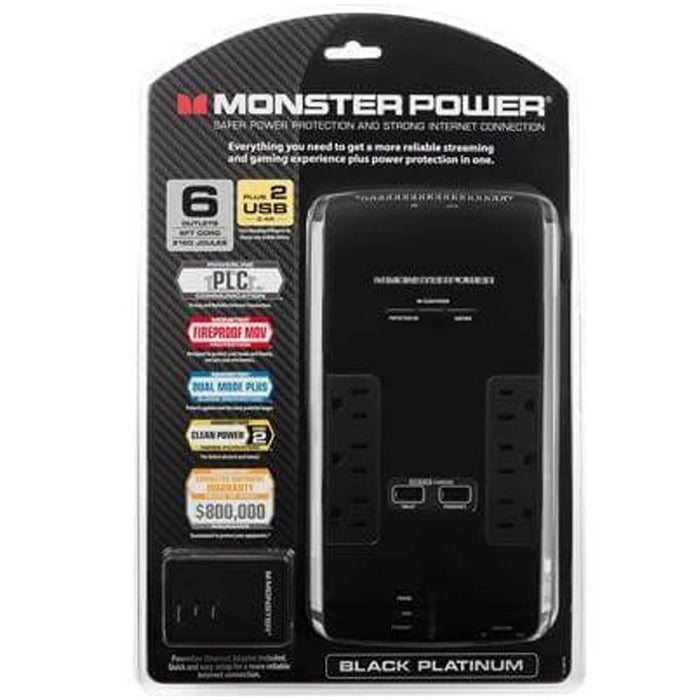 Monster Power 6 AC Outlets 2 USB 3.4Amp Ports and Coaxial In-Out Surge Protector (4347593785408)