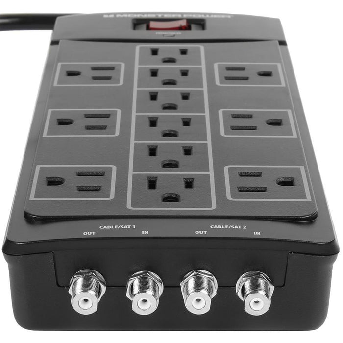 Monster Power 12 AC Outlets With 2 Coaxial Cable / SAT In-Out Surge Protector