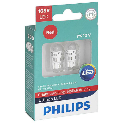 Philips 168 Ultinon Red LED Bulb Signal Brake Light OE Replace 2-Pack 168RULRX2