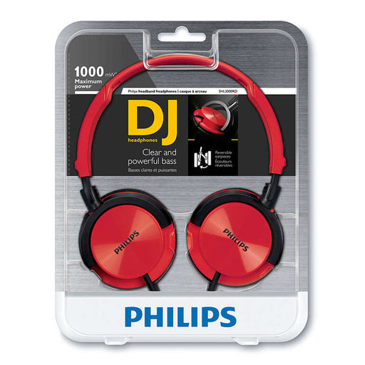 Philips SHL3000RD Adjustable On-Ear Headband Headphones with 75mm Cushioned Earpads