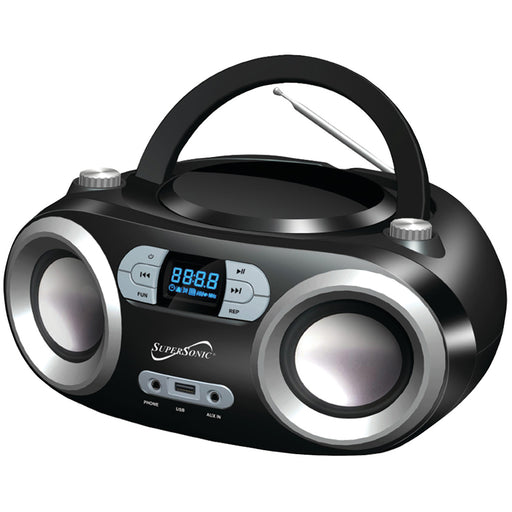 Supersonic SC-509BT Portable Bluetooth Audio System Built-in USB & Aux (Black)