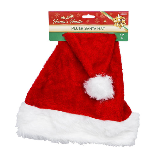 "17""H Red & White Christmas Santa Hat Soft Comfortable W/ Plush Cuff"