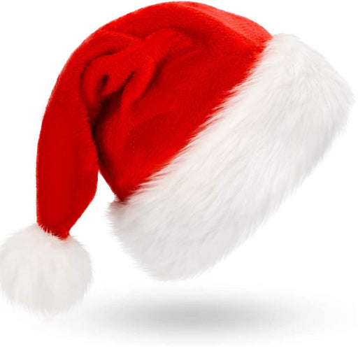 "30""H Jumbo Red & White Christmas Santa Hat Soft Comfortable W/ Plush Cuff"