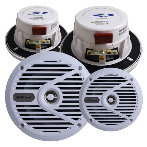 "Alpine SPS-M601W White 2-Way 6.5"" 110W Coaxial Marine Speaker 2 Pairs"