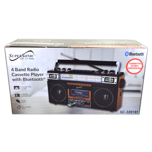 SuperSonic SC-3201BT 4 Band Radio & Bluetooth Speaker with Cassette to MP3 Converter (4345303990336)