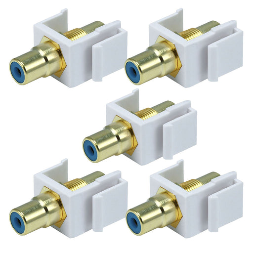 White Female RCA Keystone Jack Modular with Green, Red or Yellow Center (5/pack)